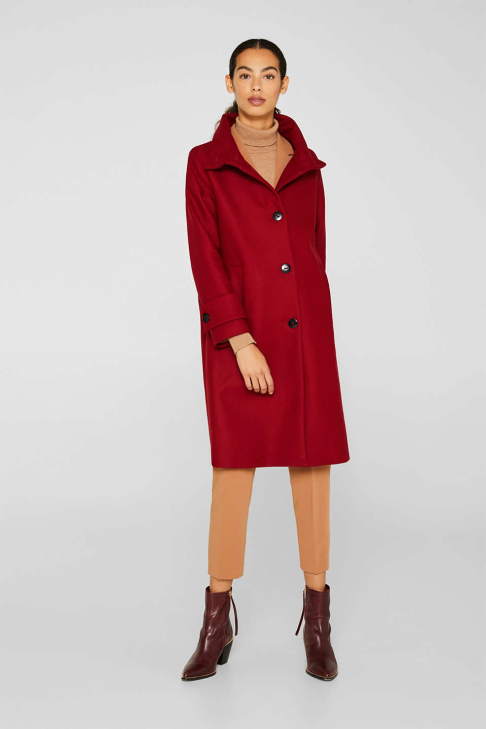 Made of blended wool: Coat with a stand-up collar, DARK RED, detail image number 1