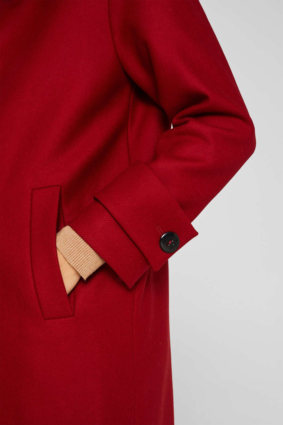 Made of blended wool: Coat with a stand-up collar, DARK RED, detail image number 2
