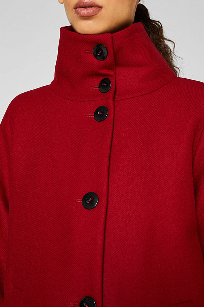 Made of blended wool: Coat with a stand-up collar, DARK RED, detail image number 6