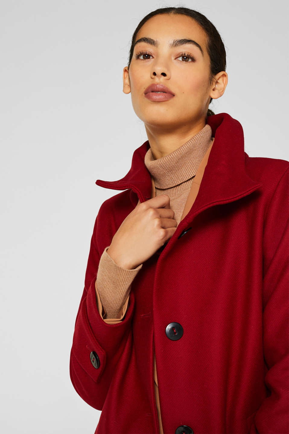 Made of blended wool: Coat with a stand-up collar, DARK RED, detail image number 7
