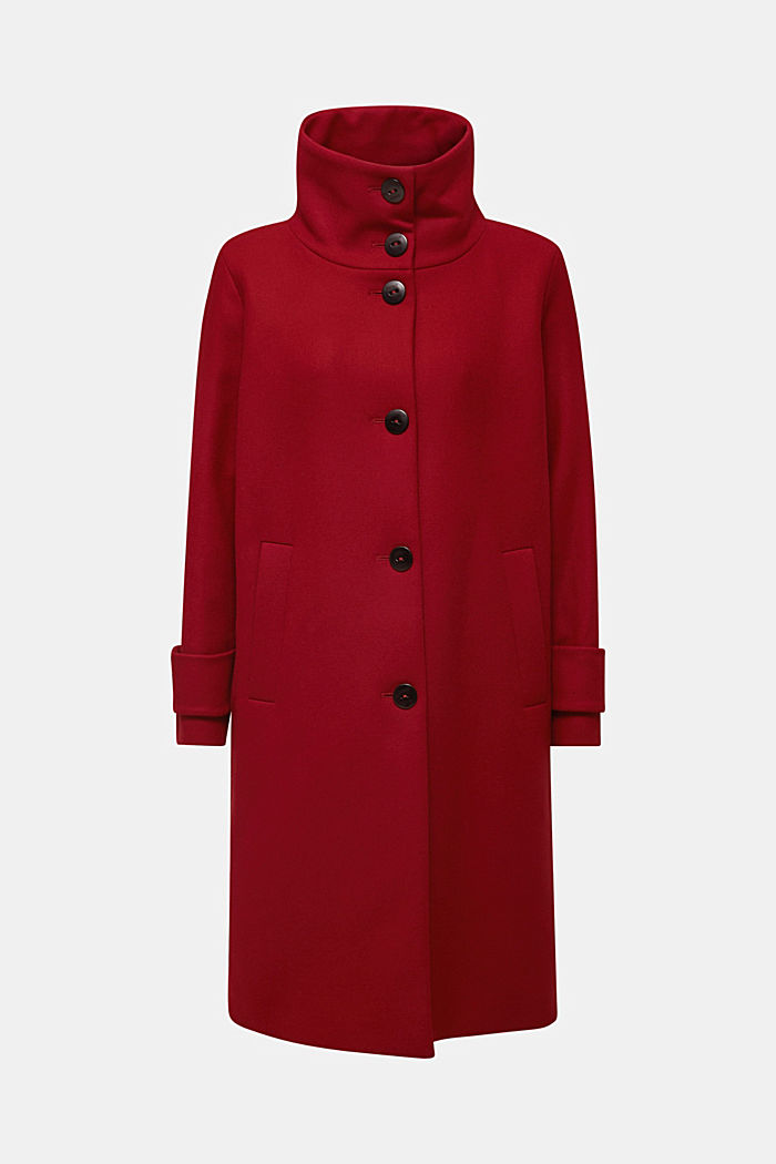 Made of blended wool: Coat with a stand-up collar, DARK RED, overview