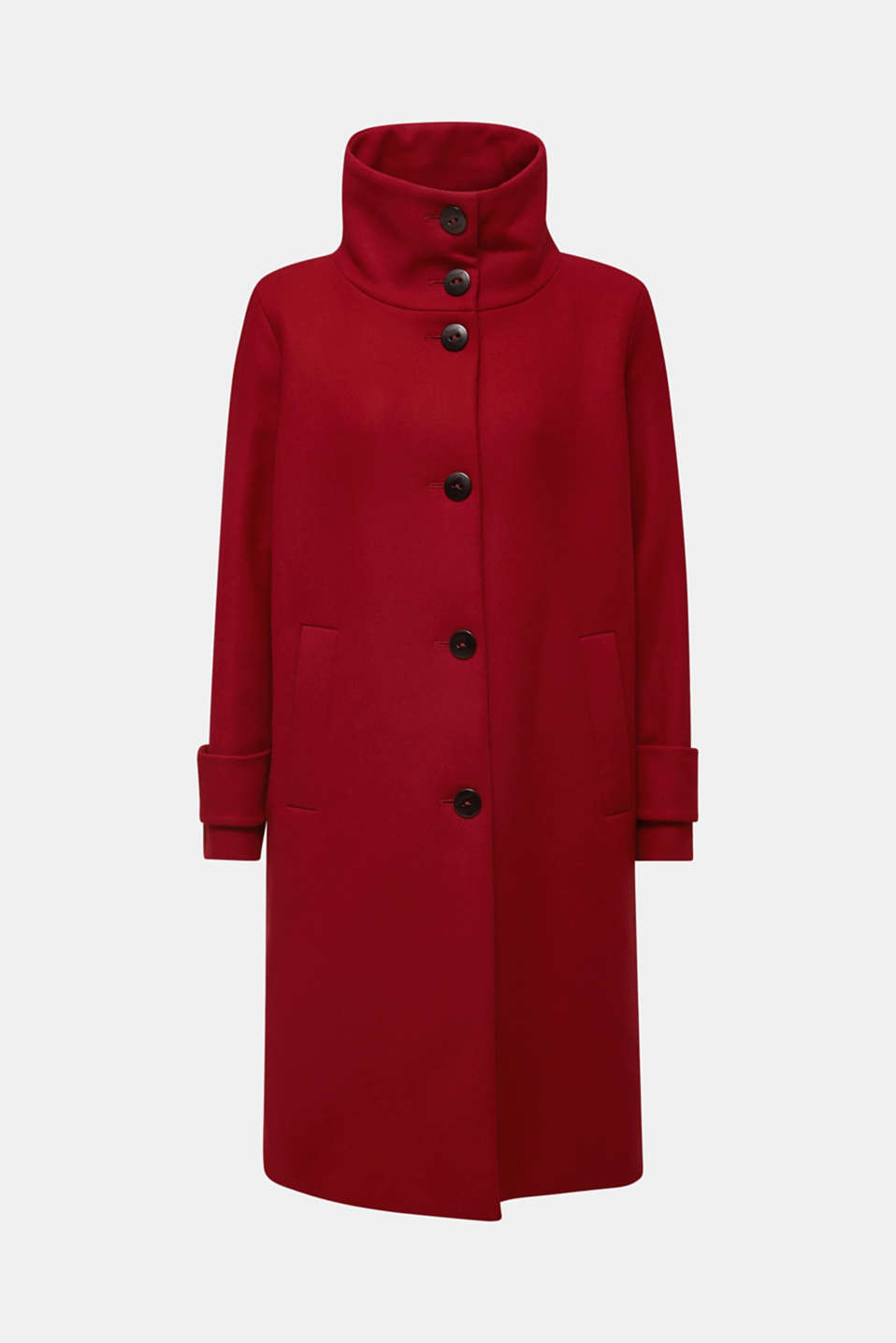 Made of blended wool: Coat with a stand-up collar, DARK RED, detail image number 8