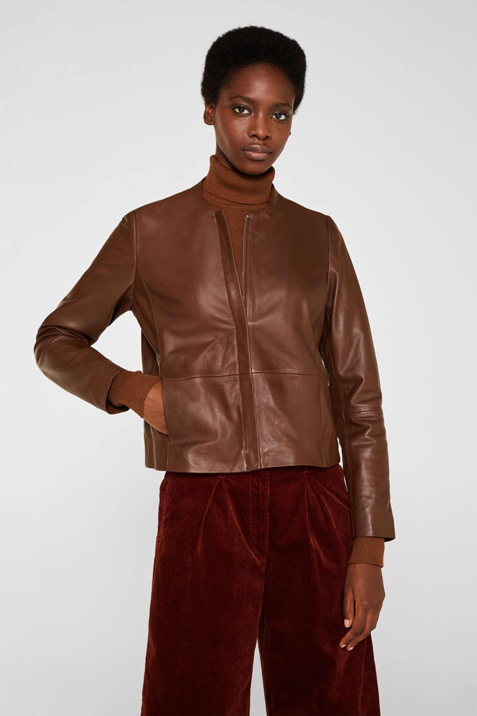 Made of leather: feminine jacket, CARAMEL, detail image number 6