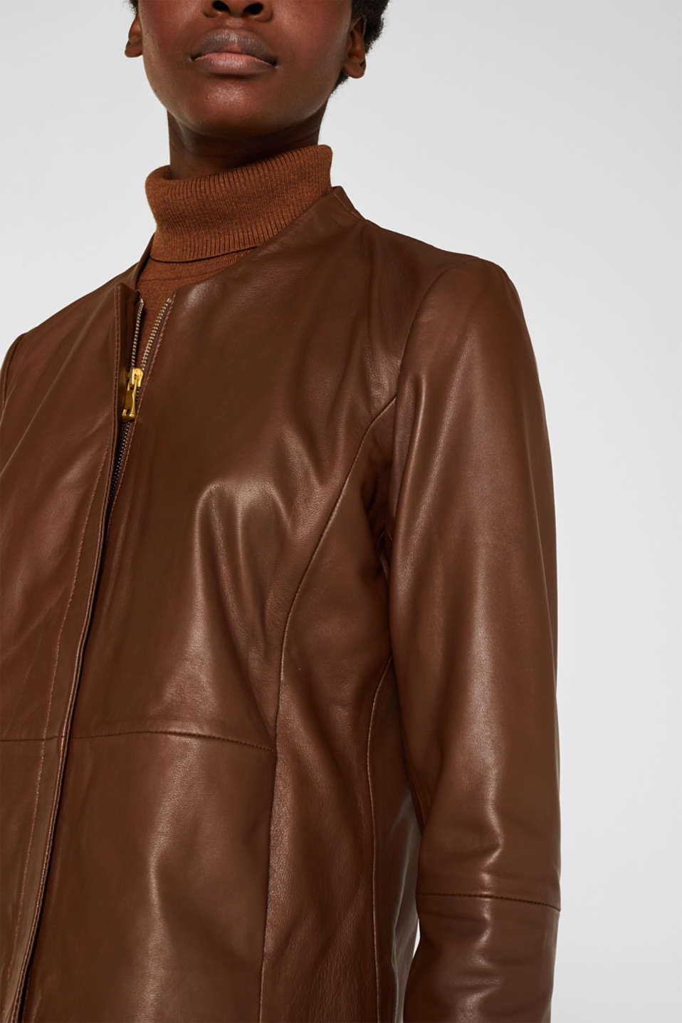 Made of leather: feminine jacket, CARAMEL, detail image number 2