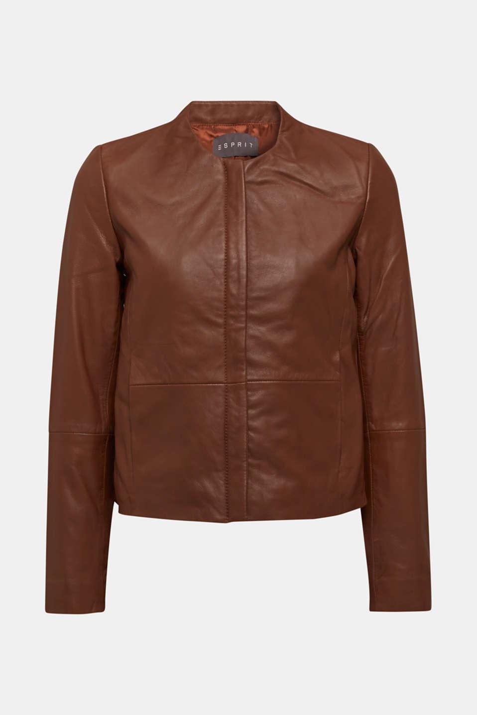 Made of leather: feminine jacket, CARAMEL, detail image number 7