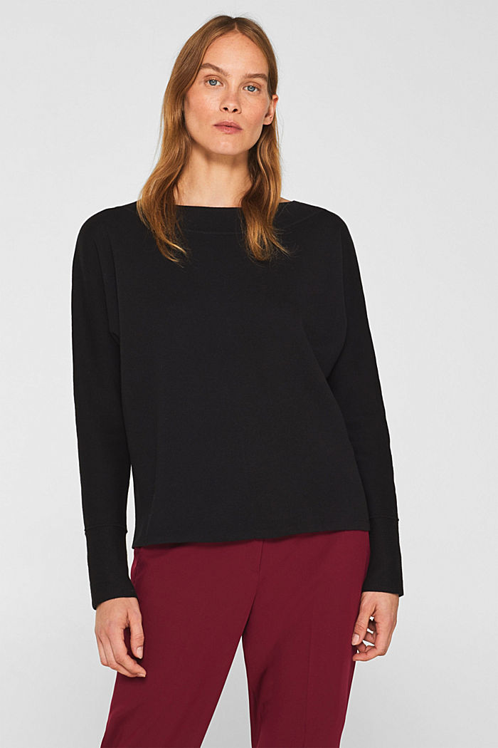 Stretch jumper with batwing sleeves, BLACK, detail image number 0