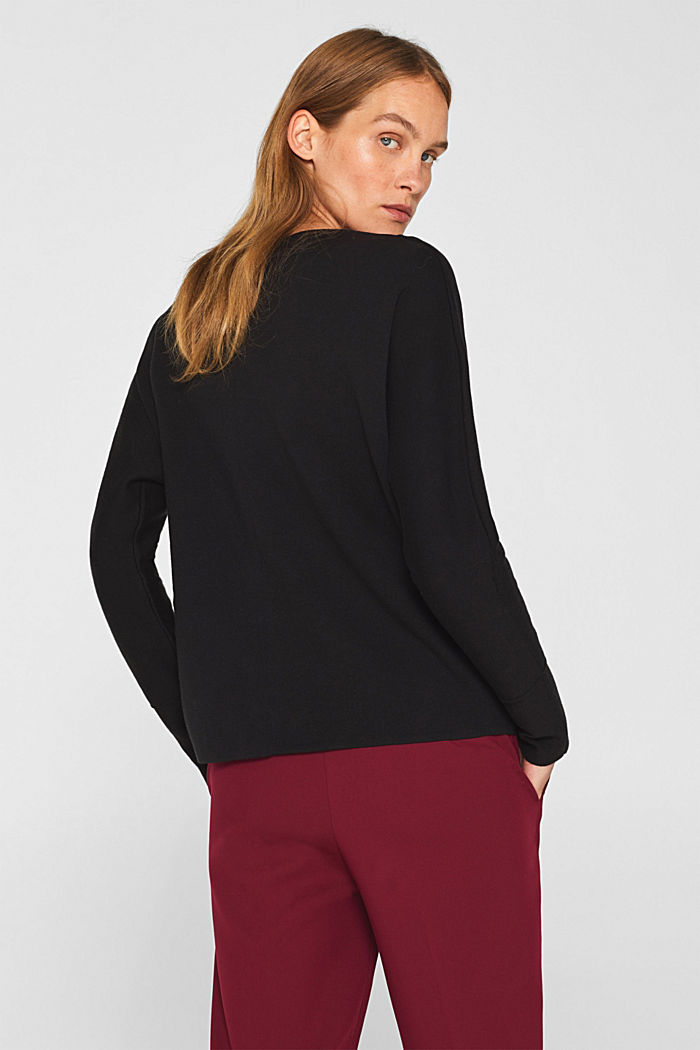Stretch jumper with batwing sleeves, BLACK, detail image number 3