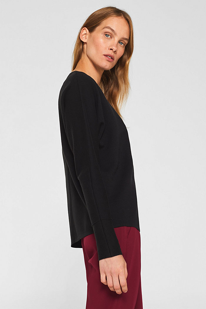 Stretch jumper with batwing sleeves, BLACK, detail image number 5