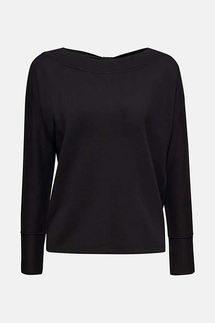 Stretch jumper with batwing sleeves, BLACK, detail image number 6