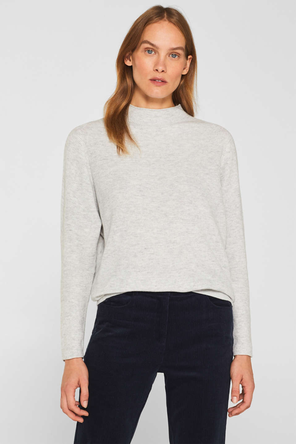 Esprit - Jumper with cashmere and a ribbed texture