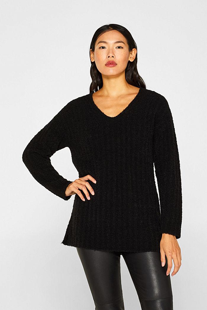 Mit Alpaka: Pullover mit Struktur, BLACK, detail image number 0