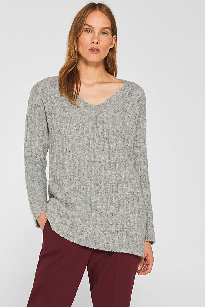 With alpaca: textured jumper, GREY, detail image number 0