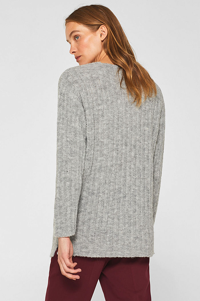 With alpaca: textured jumper, GREY, detail image number 3