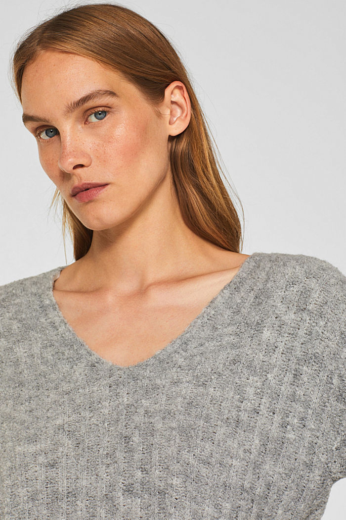 With alpaca: textured jumper, GREY, detail image number 2