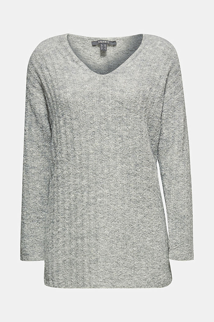 With alpaca: textured jumper, GREY, detail image number 6