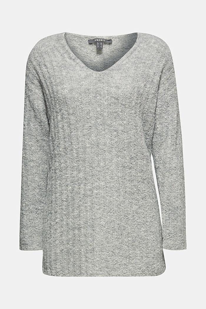 Mit Alpaka: Pullover mit Struktur, GREY, detail image number 6