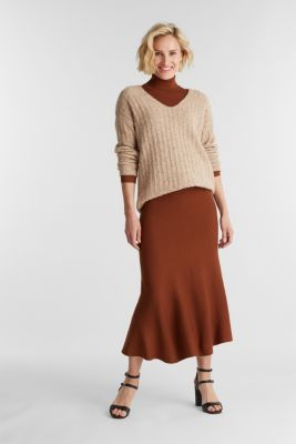 With alpaca: Long jumper with a texture, SKIN BEIGE 5, detail