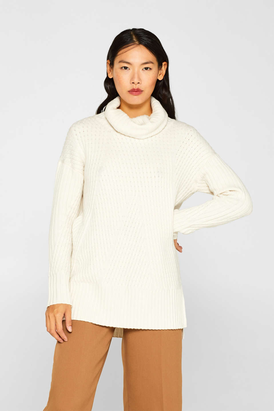 Esprit - Long-Sweater mit Kaschmir