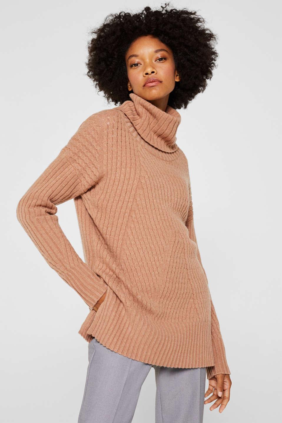 Cashmere blend: textured polo neck jumper, CARAMEL 5, detail image number 0