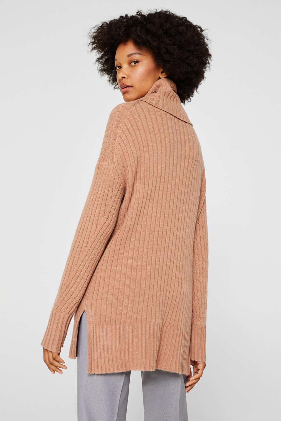 Cashmere blend: textured polo neck jumper, CARAMEL 5, detail image number 3