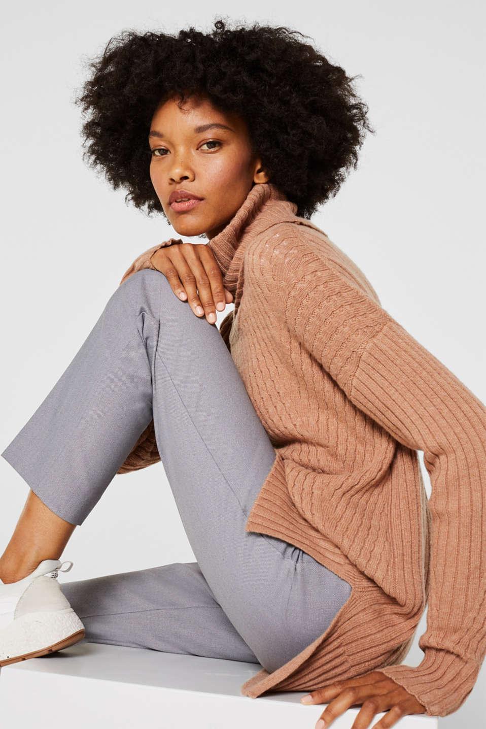 Cashmere blend: textured polo neck jumper, CARAMEL 5, detail image number 5