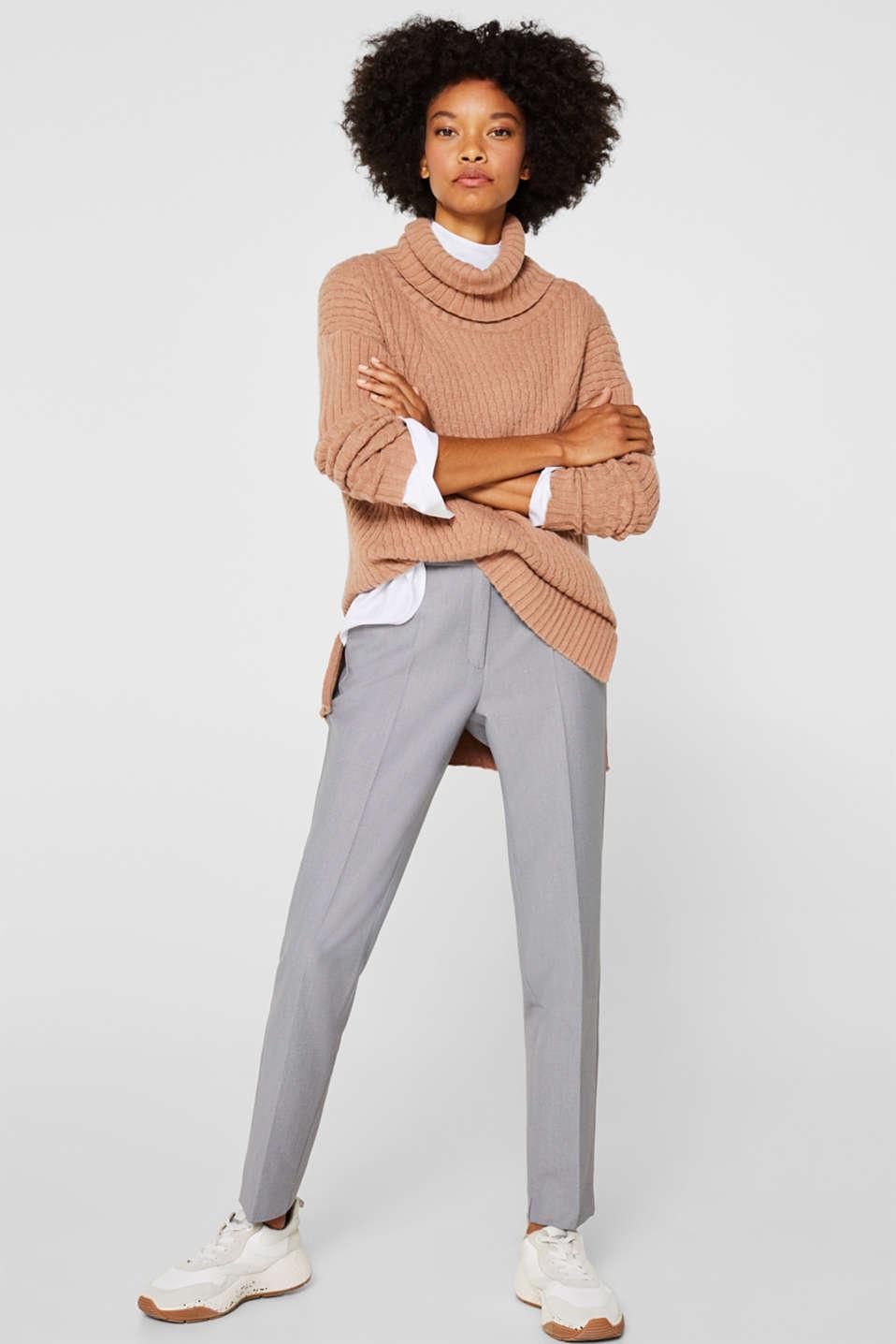 Cashmere blend: textured polo neck jumper, CARAMEL 5, detail image number 1