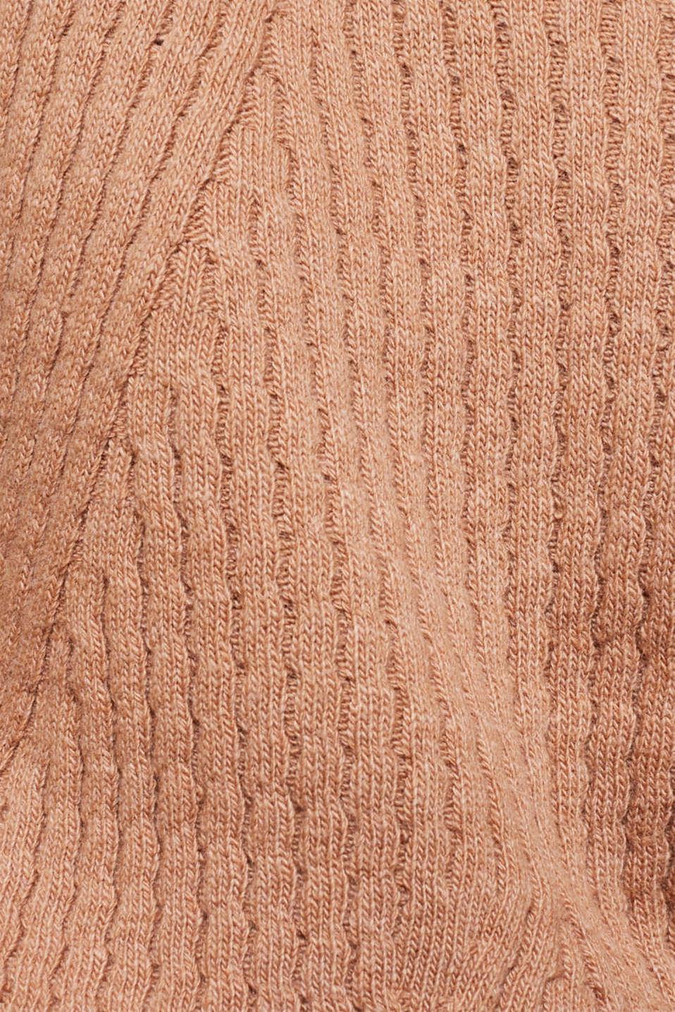 Cashmere blend: textured polo neck jumper, CARAMEL 5, detail image number 4