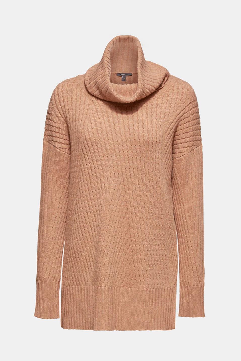 Cashmere blend: textured polo neck jumper, CARAMEL 5, detail image number 7