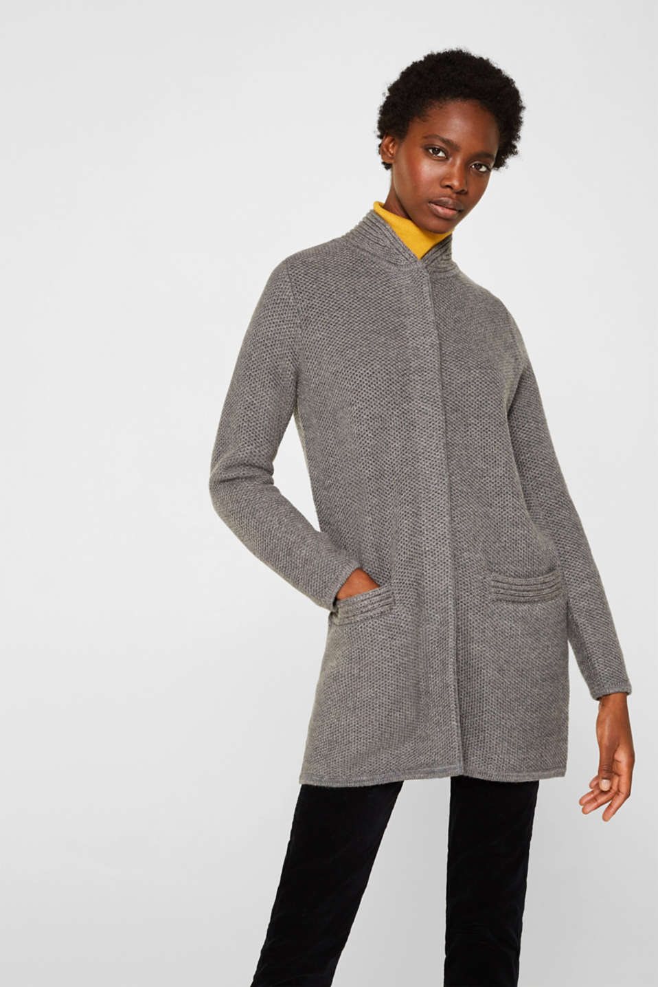 Esprit - With wool: Cardigan in a textured look