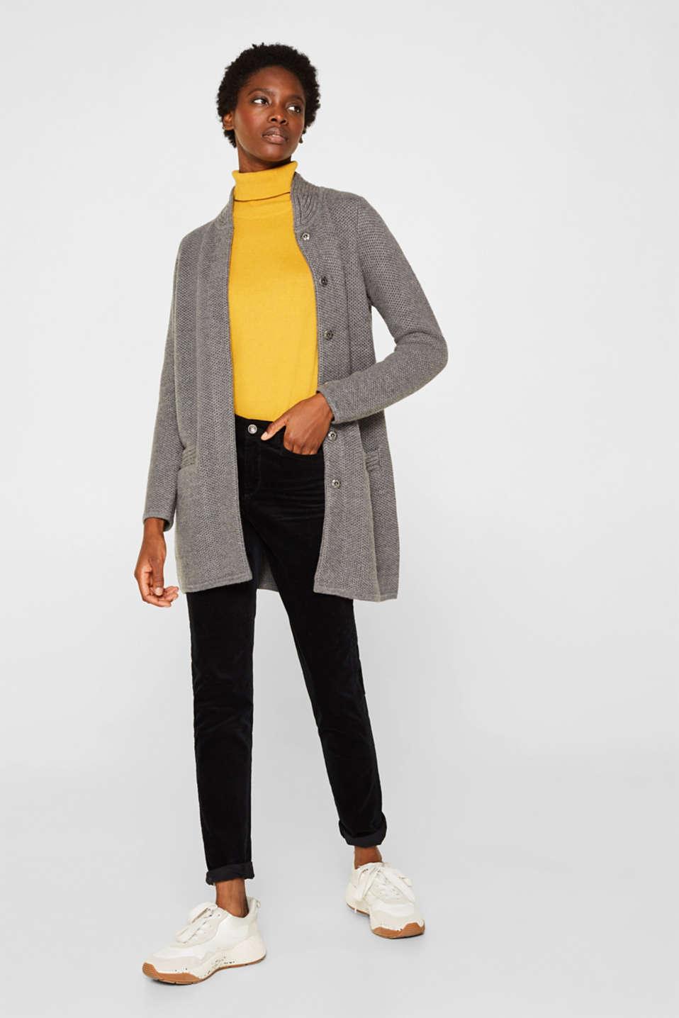 Sweaters cardigan, GUNMETAL 5, detail image number 1
