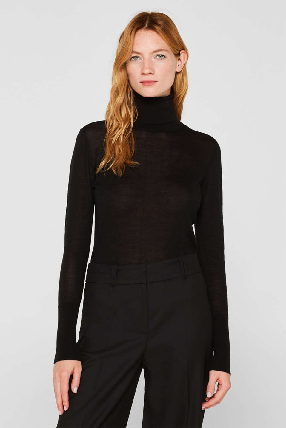 With merino wool: polo neck jumper, BLACK, detail image number 0