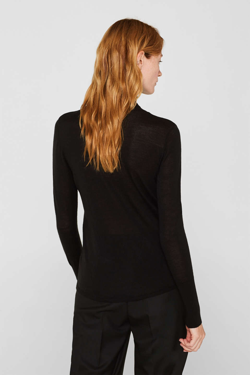 With merino wool: polo neck jumper, BLACK, detail image number 3