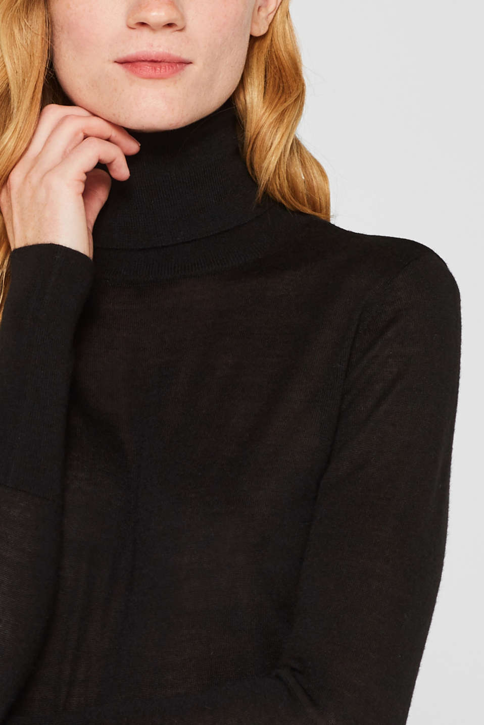 With merino wool: polo neck jumper, BLACK, detail image number 2
