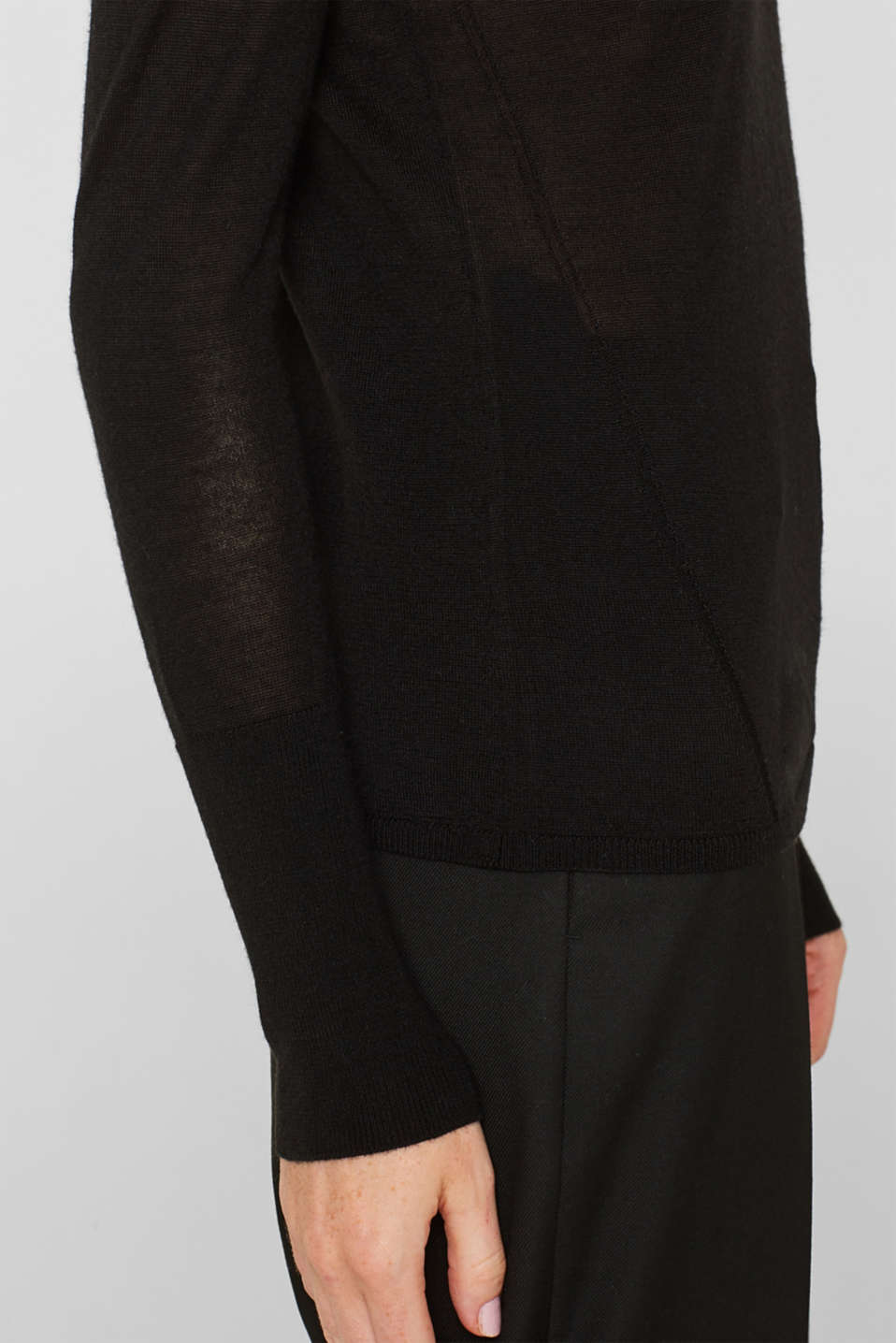 With merino wool: polo neck jumper, BLACK, detail image number 5