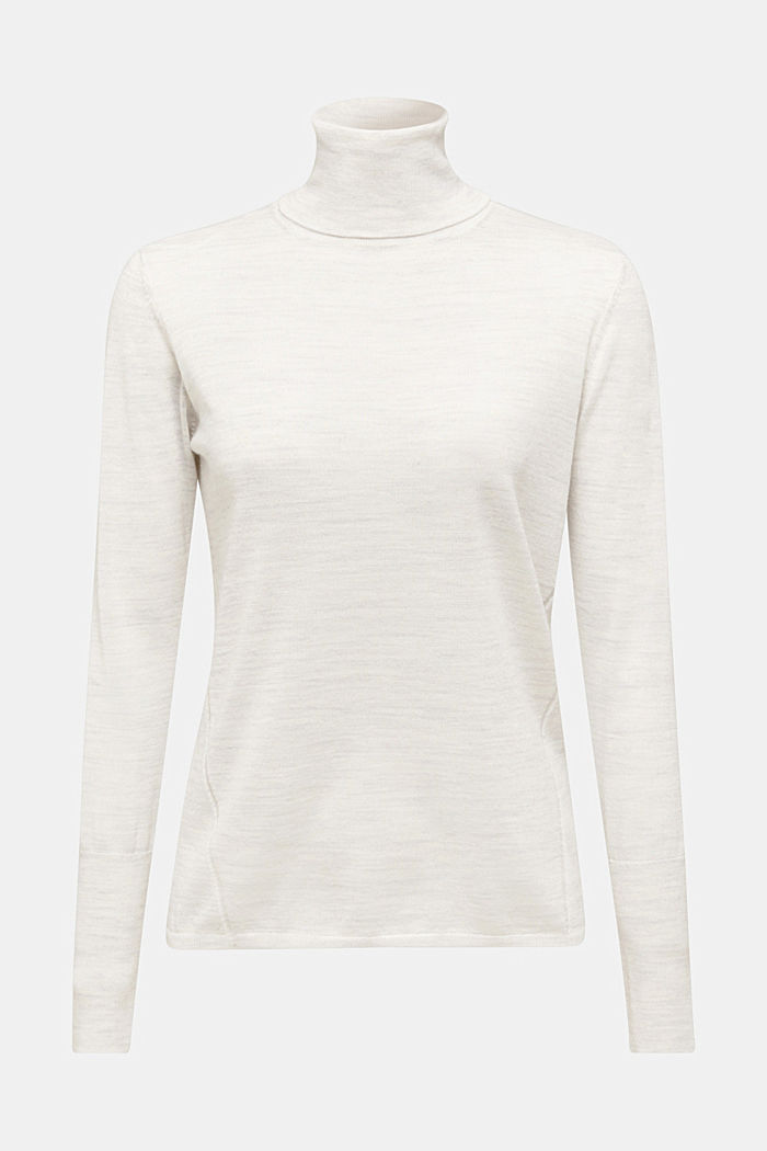 With merino wool: polo neck jumper
