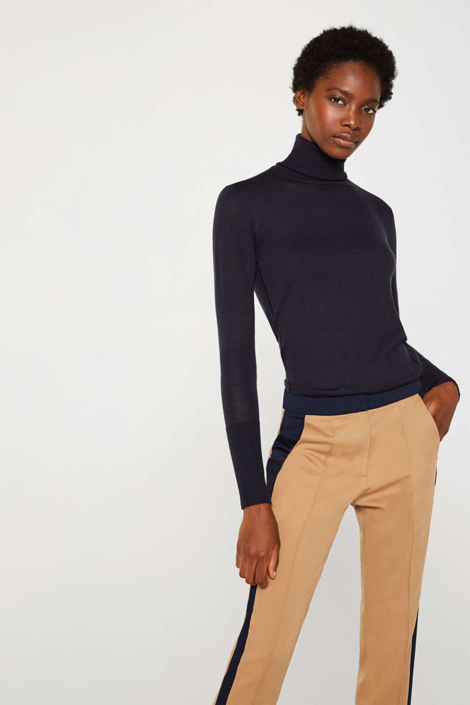 With merino wool: polo neck jumper, NAVY, detail image number 0