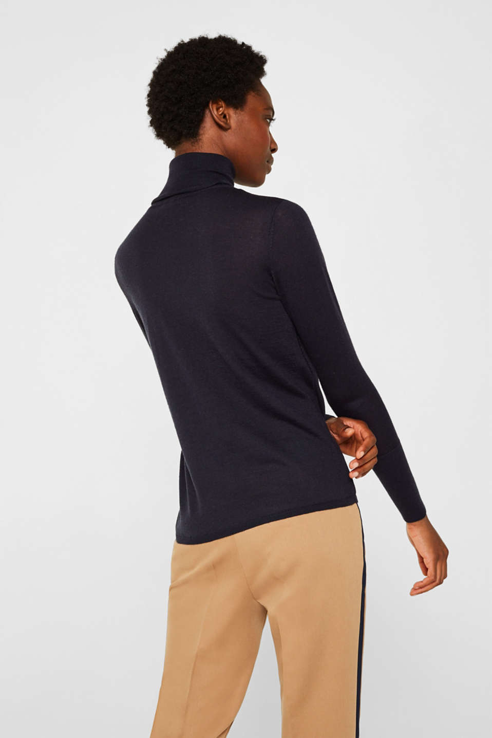 With merino wool: polo neck jumper, NAVY, detail image number 3