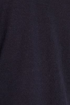 With merino wool: polo neck jumper, NAVY, detail
