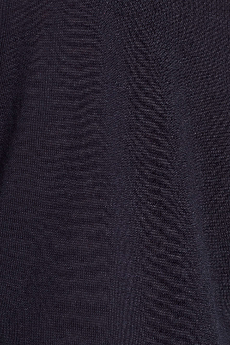 With merino wool: polo neck jumper, NAVY, detail image number 4