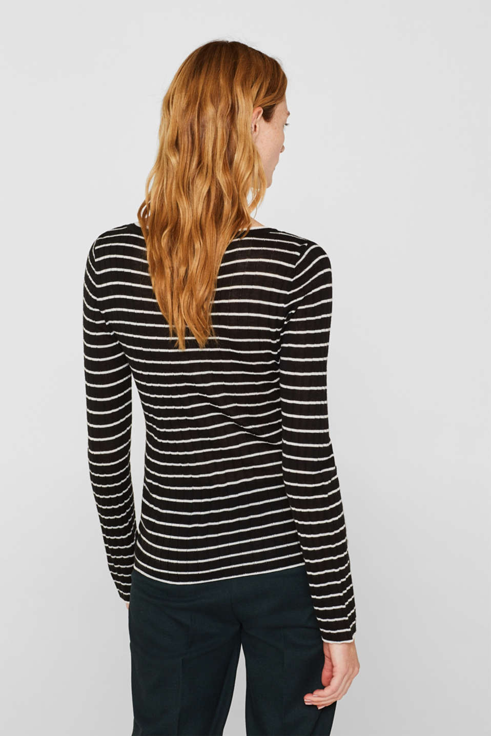 With wool: lightweight striped jumper, BLACK, detail image number 3