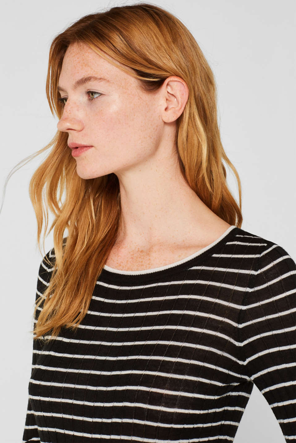 With wool: lightweight striped jumper, BLACK, detail image number 6