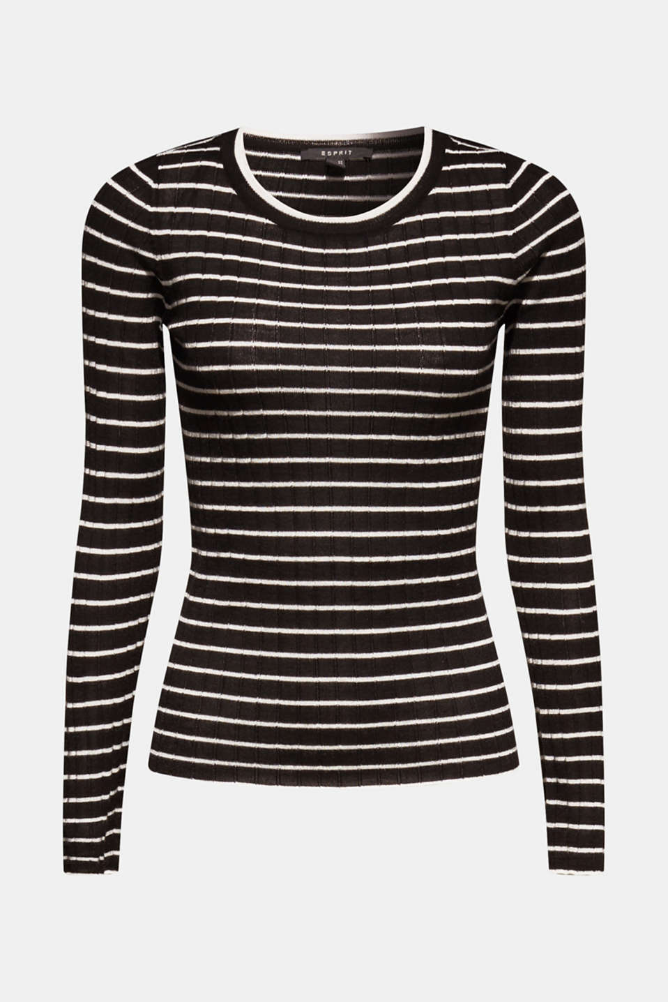 With wool: lightweight striped jumper, BLACK, detail image number 7