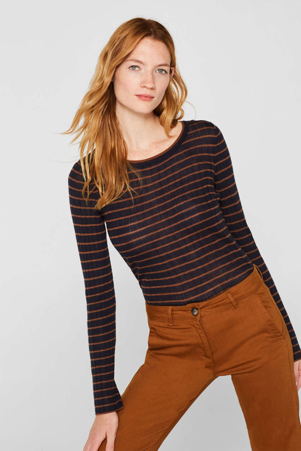 With wool: lightweight striped jumper