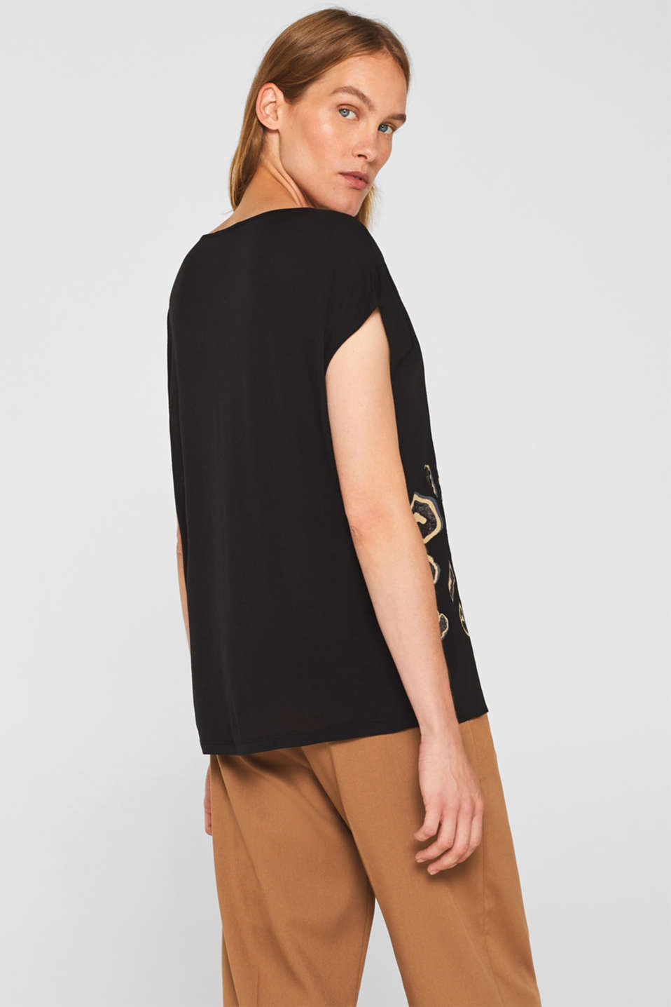 Blouse top in a mix of materials, BLACK, detail image number 3