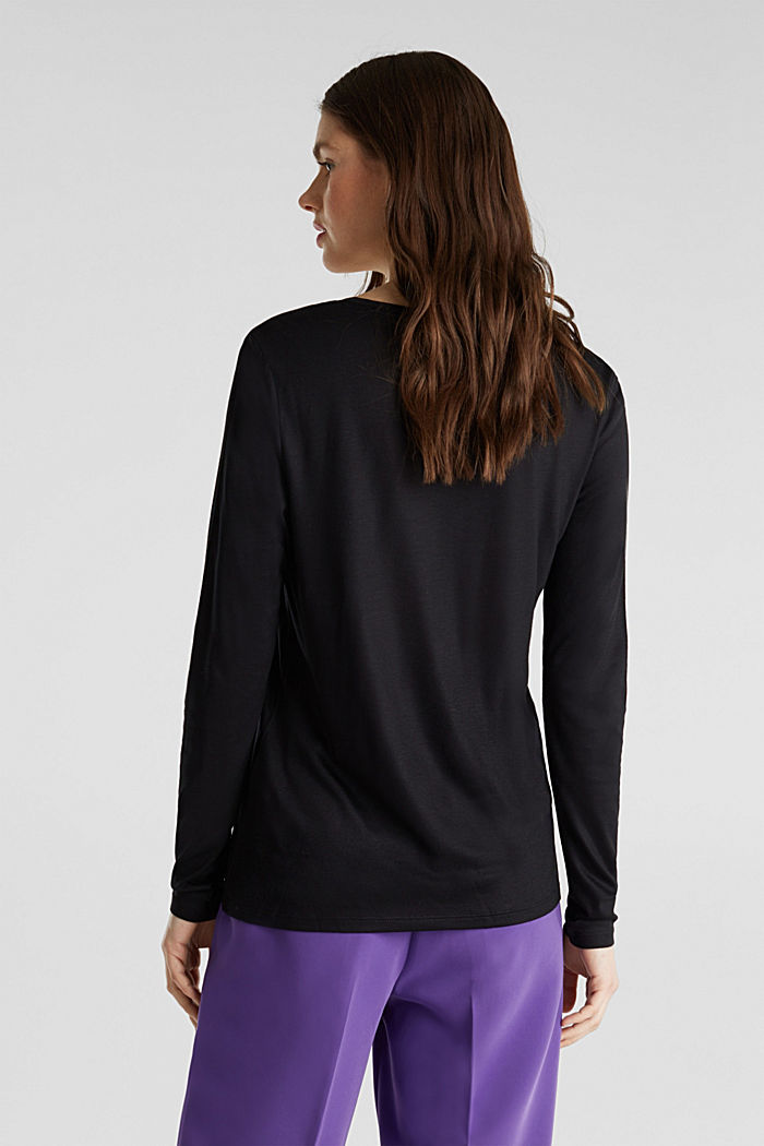 Long sleeve top with a fine sheen, BLACK, detail image number 3