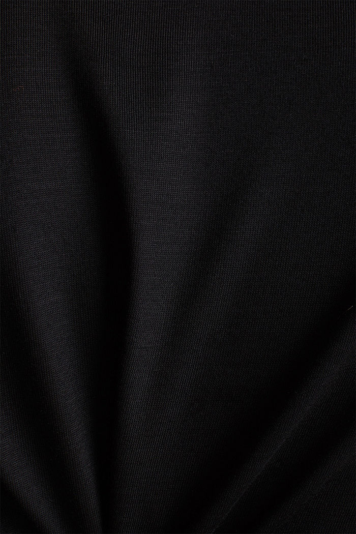 Long sleeve top with a fine sheen, BLACK, detail image number 4