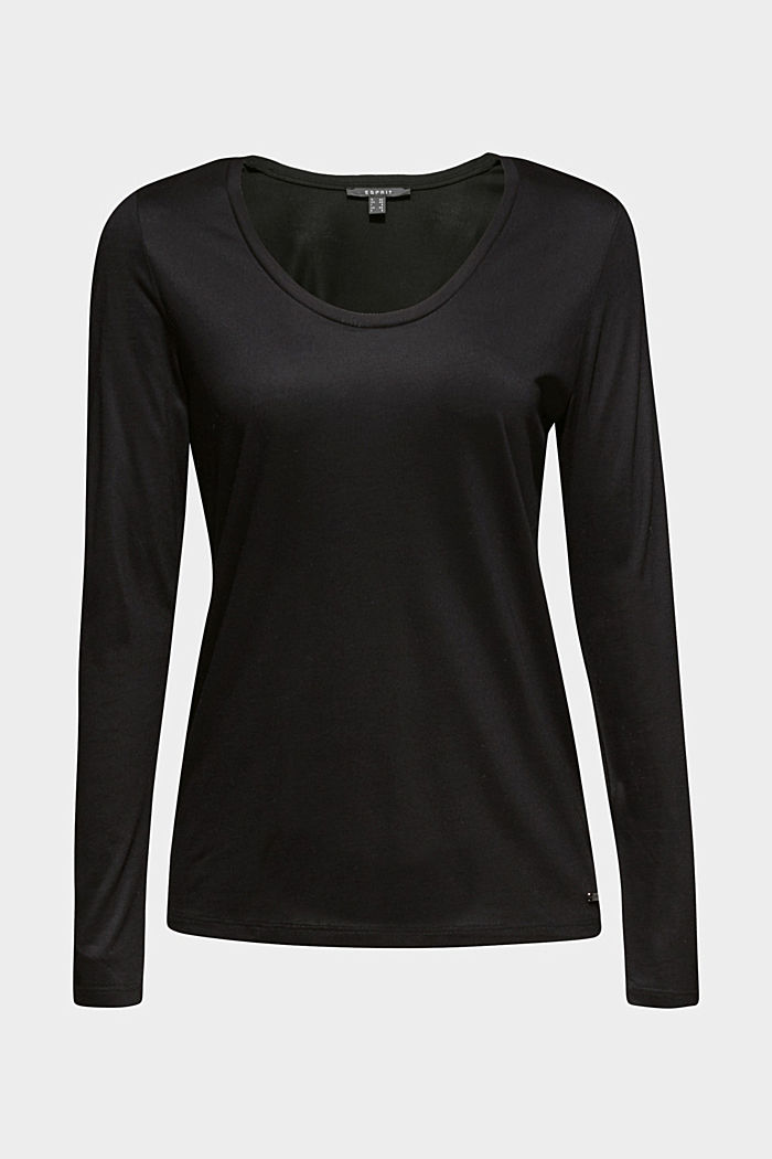Long sleeve top with a fine sheen, BLACK, detail image number 6