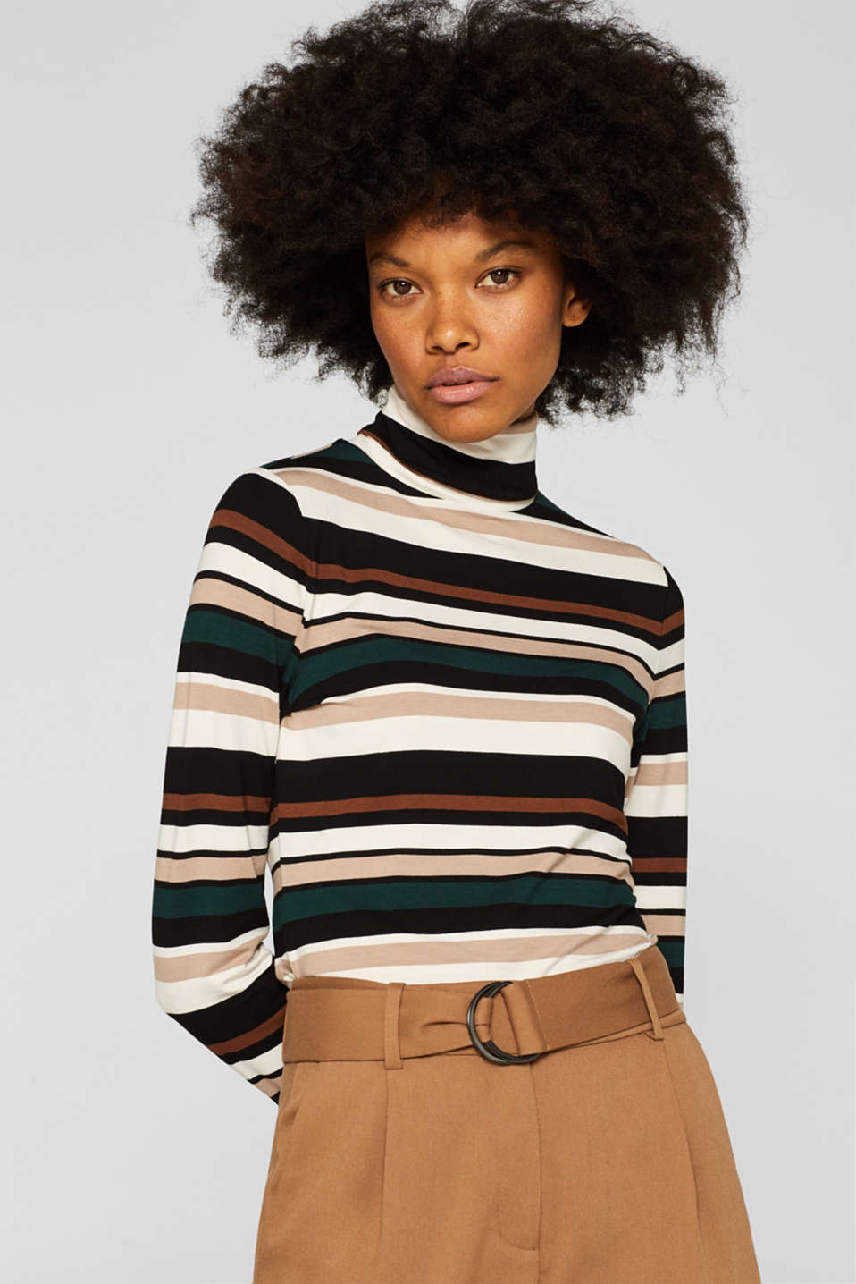 Esprit - long sleeve polo neck top