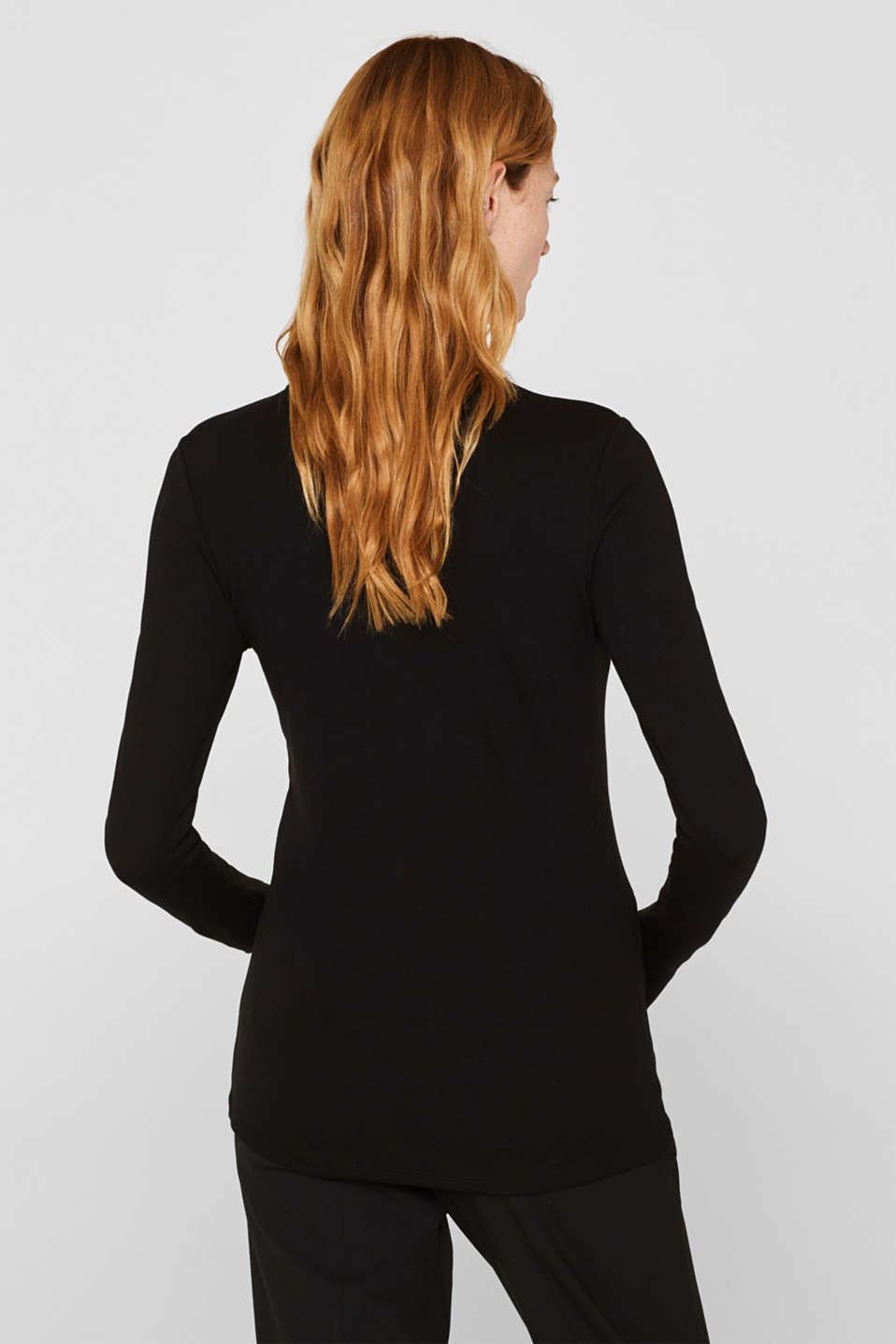Long sleeve stretch top with a pussycat bow, BLACK, detail image number 3