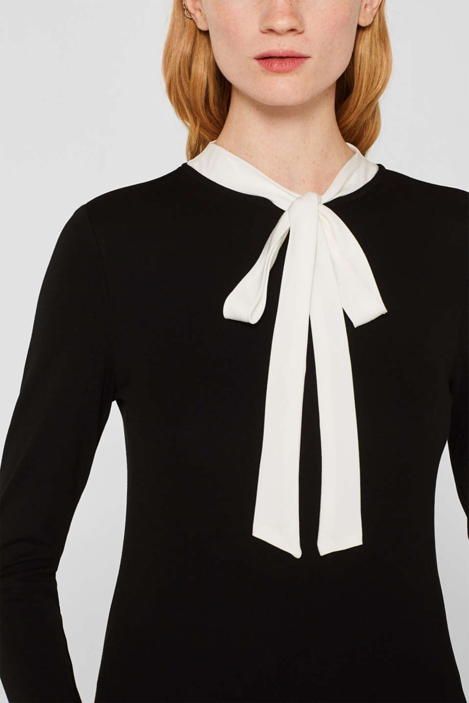 Long sleeve stretch top with a pussycat bow, BLACK, detail image number 2